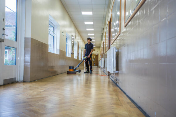 school hallway cleaning