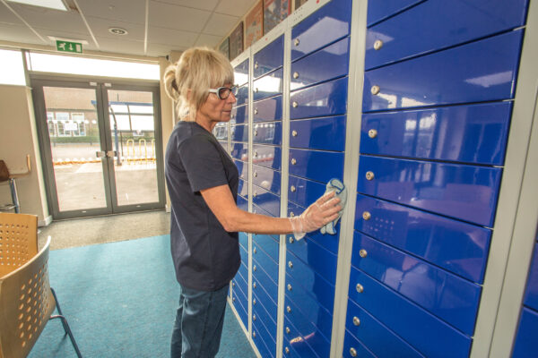 school lockers being cleaned