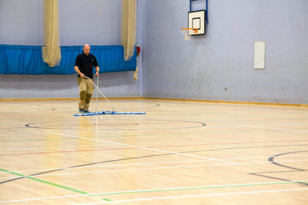 sports hall floor cleaning
